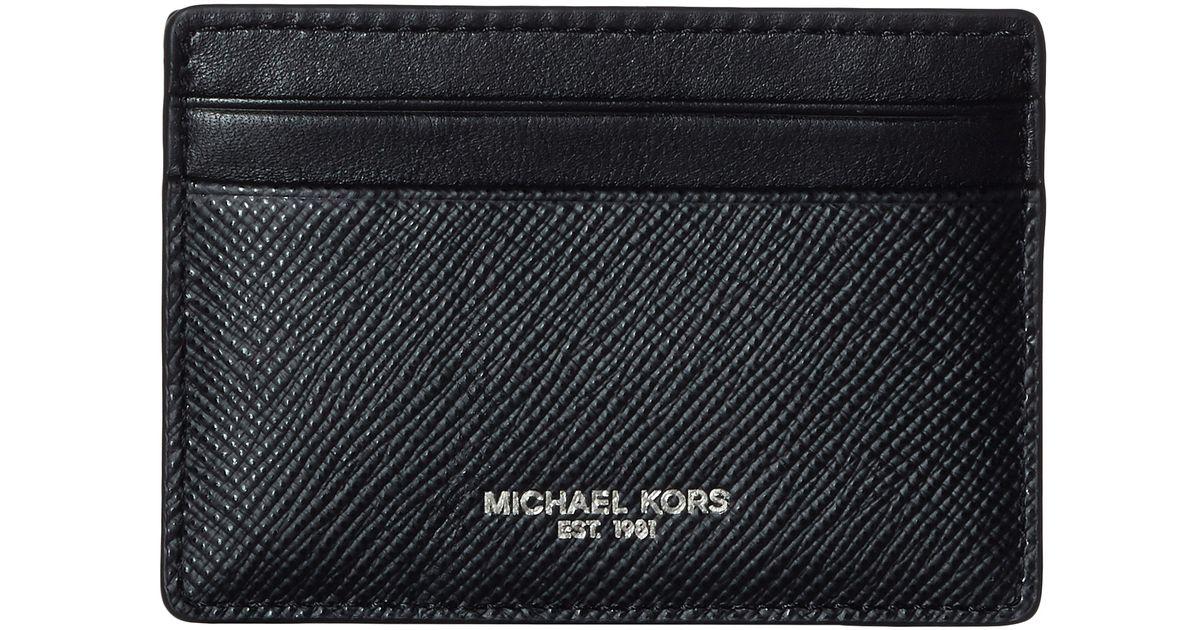 2c9ebd300ca Lyst - Michael Kors Harrison Cross Grain Leather Card Case W  Money Clip in  Black for Men