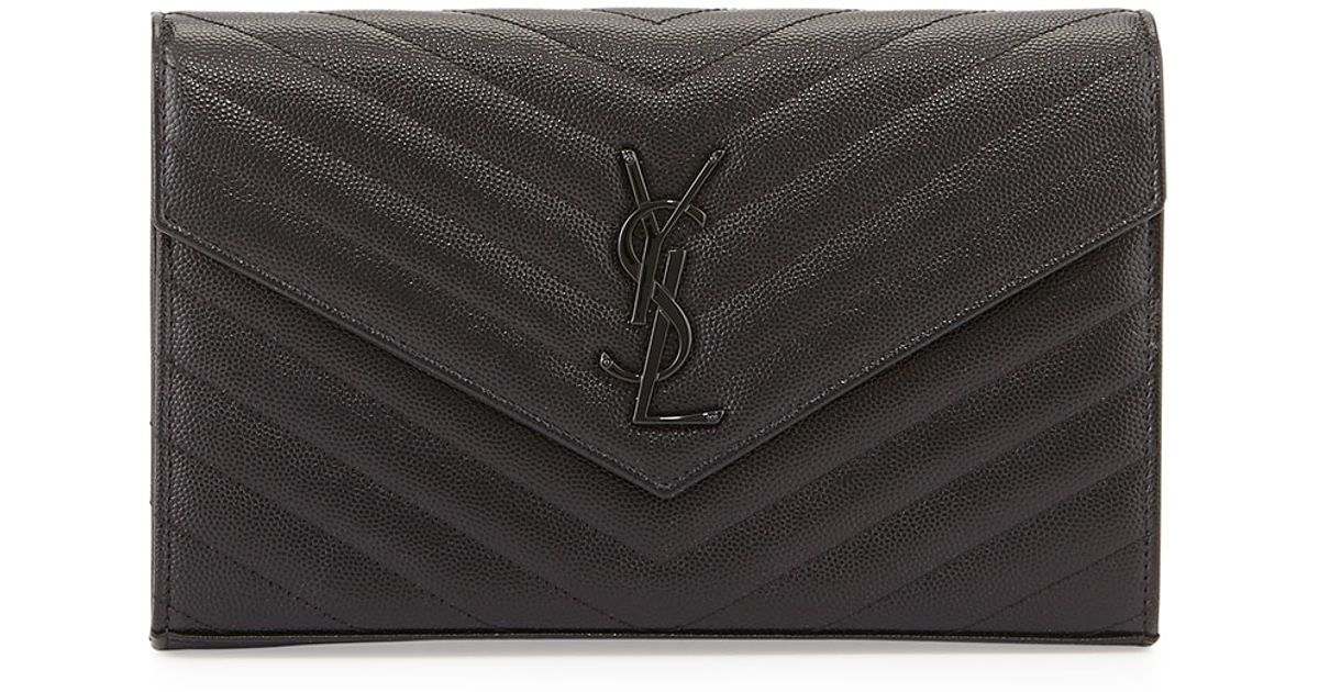 cabas chyc large leather tote - Saint laurent Monogram Leather Chain Wallet in Black | Lyst