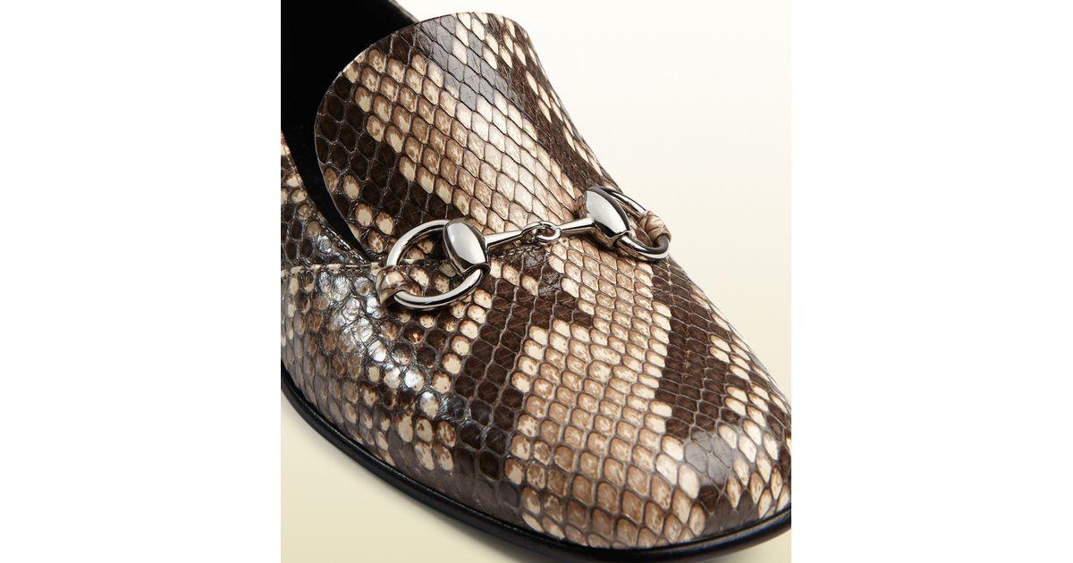 05c5b1191 Lyst - Gucci Python Horsebit Loafer in Natural for Men