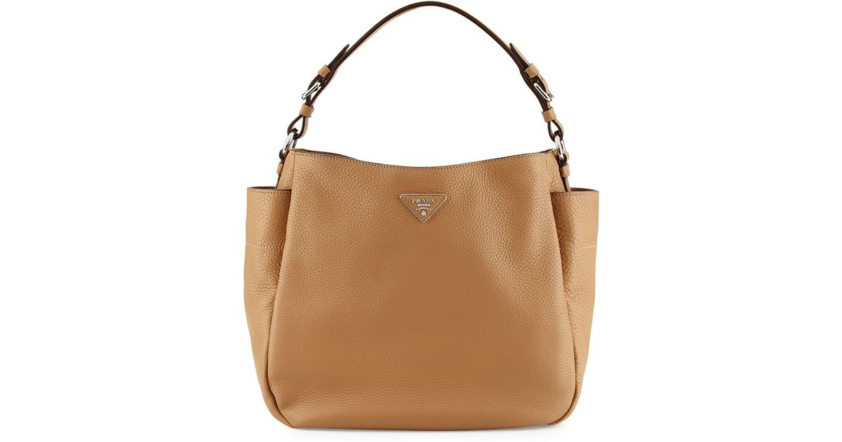 Prada Vitello Daino Single Strap Hobo Bag in Brown | Lyst