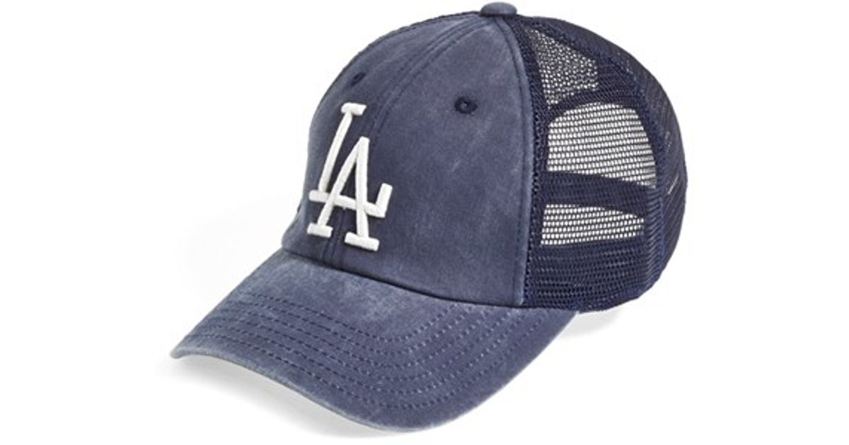 Lyst - American Needle  los Angeles Dodgers - Raglan Bones  Mesh Trucker Cap  in Blue for Men 8c33a94be8a5