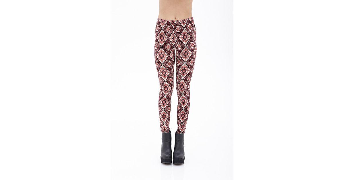 eab842276d936d Lyst - Forever 21 Kaleidoscope Print Knit Leggings in Natural