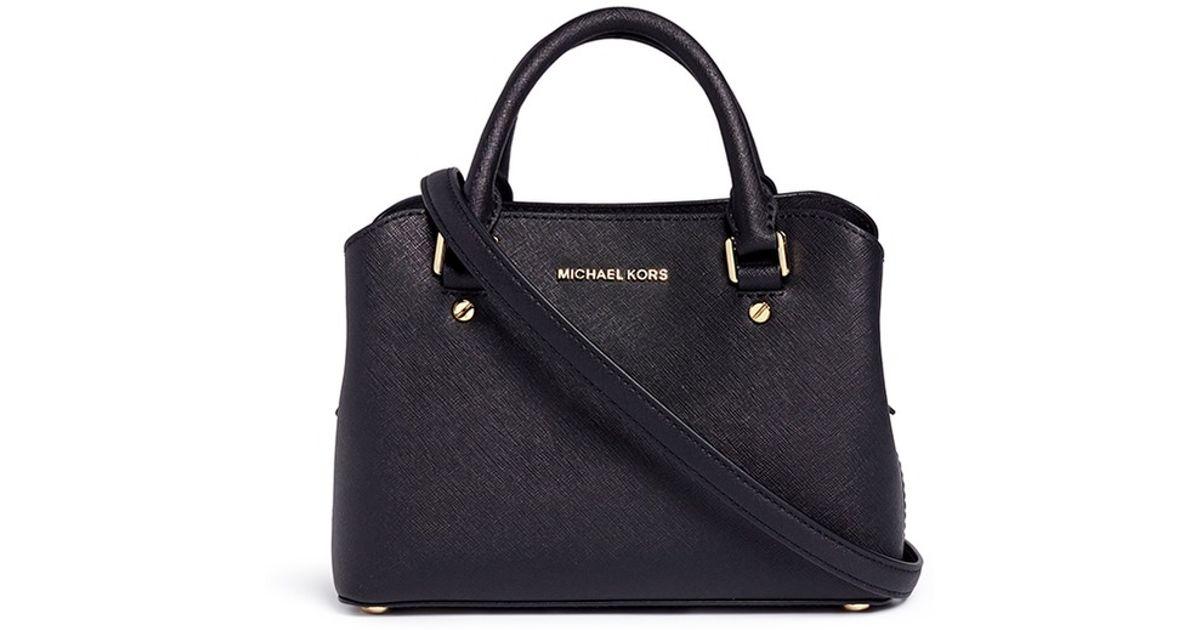 cdc628f87743 ... wholesale michael kors savannah small saffiano leather satchel in black  lyst 0de50 7b92e