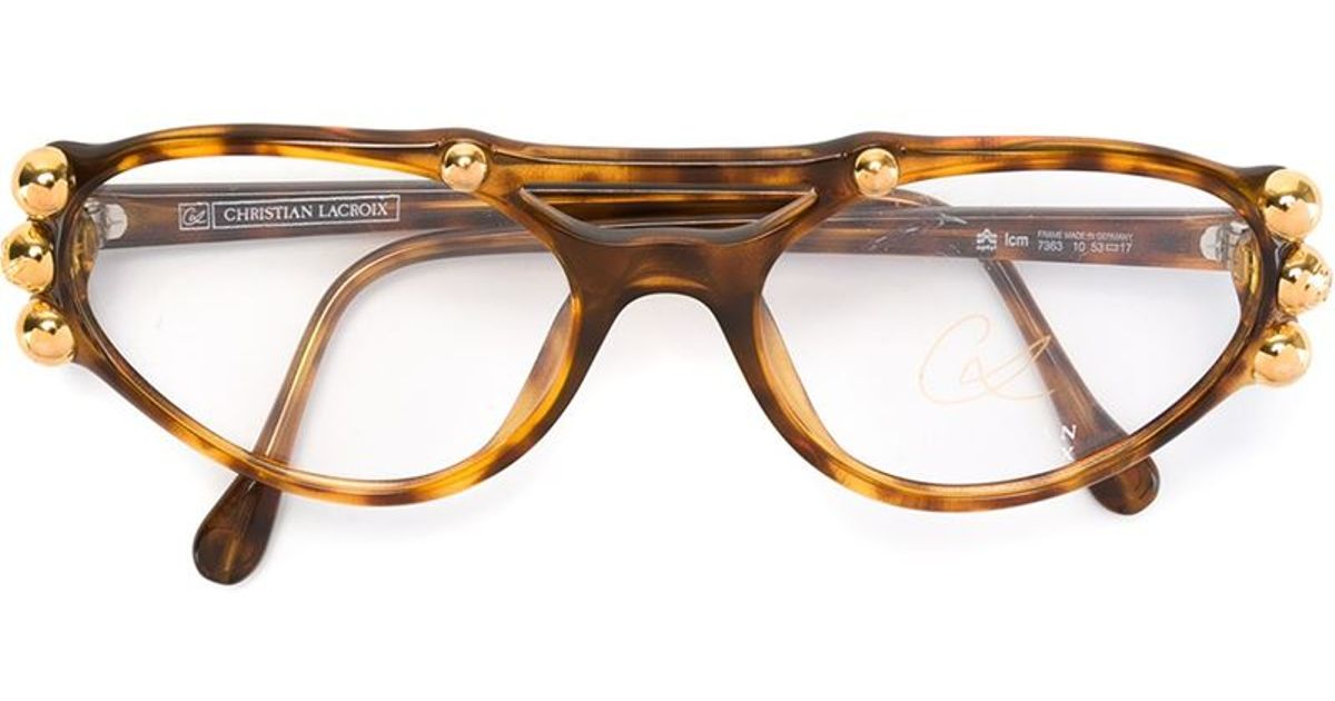 88541ae47e00 Lyst - Christian Lacroix Stud Detail Optical Glasses in Brown