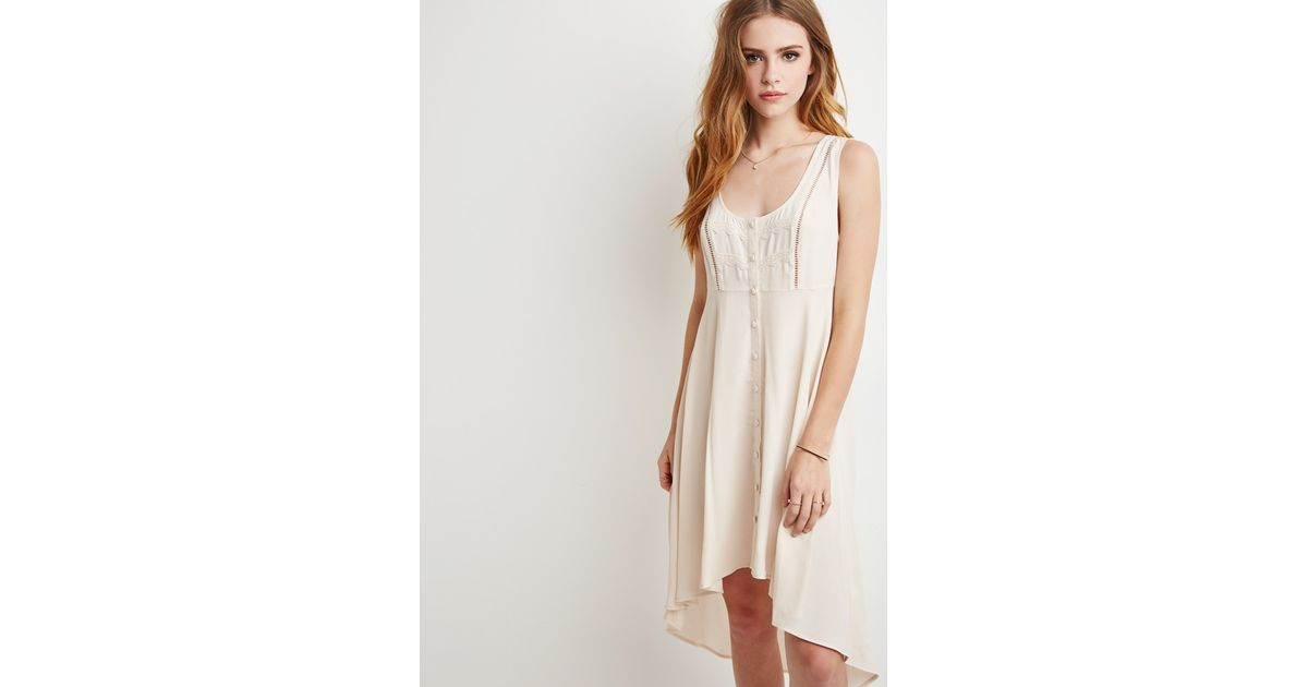 b75e938f71b8 Lyst - Forever 21 Crochet-trimmed Tunic in Natural