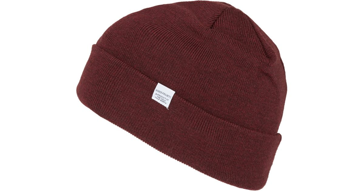 Lyst - Norse Projects Burgundy Beanie Hat in Purple for Men 6cc0e4ac240