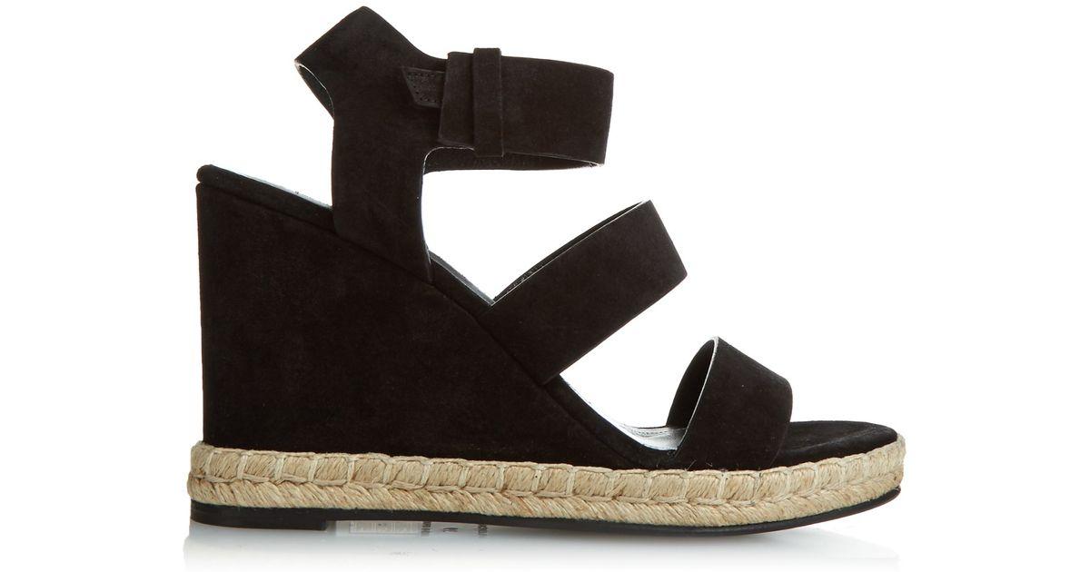 78428831706a Balenciaga Suede Wedge Sandals in Black - Lyst