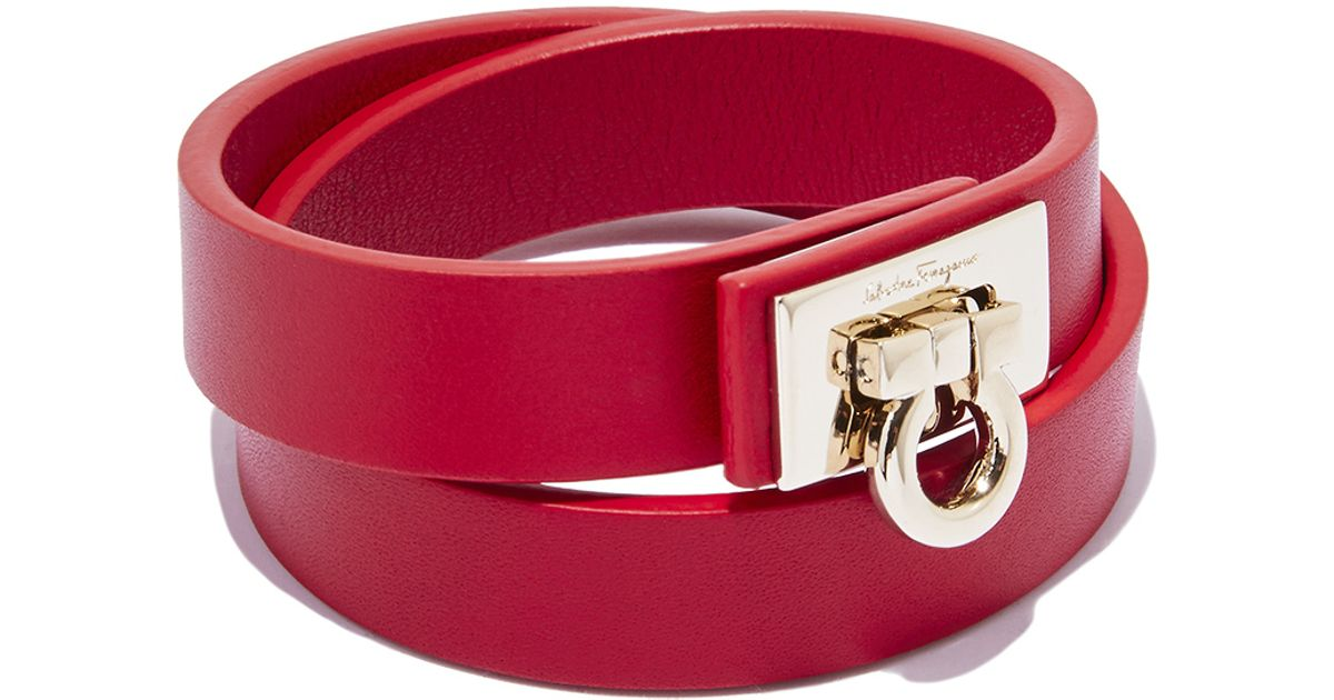 Ferragamo Gancio Lock Wrap Bracelet in Red - Lyst
