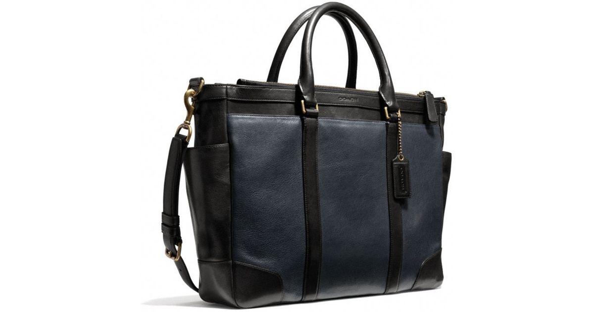 9aadbf220 ... where to buy coach bleecker metropolitan bag in harness leather in blue  for men lyst 1d037