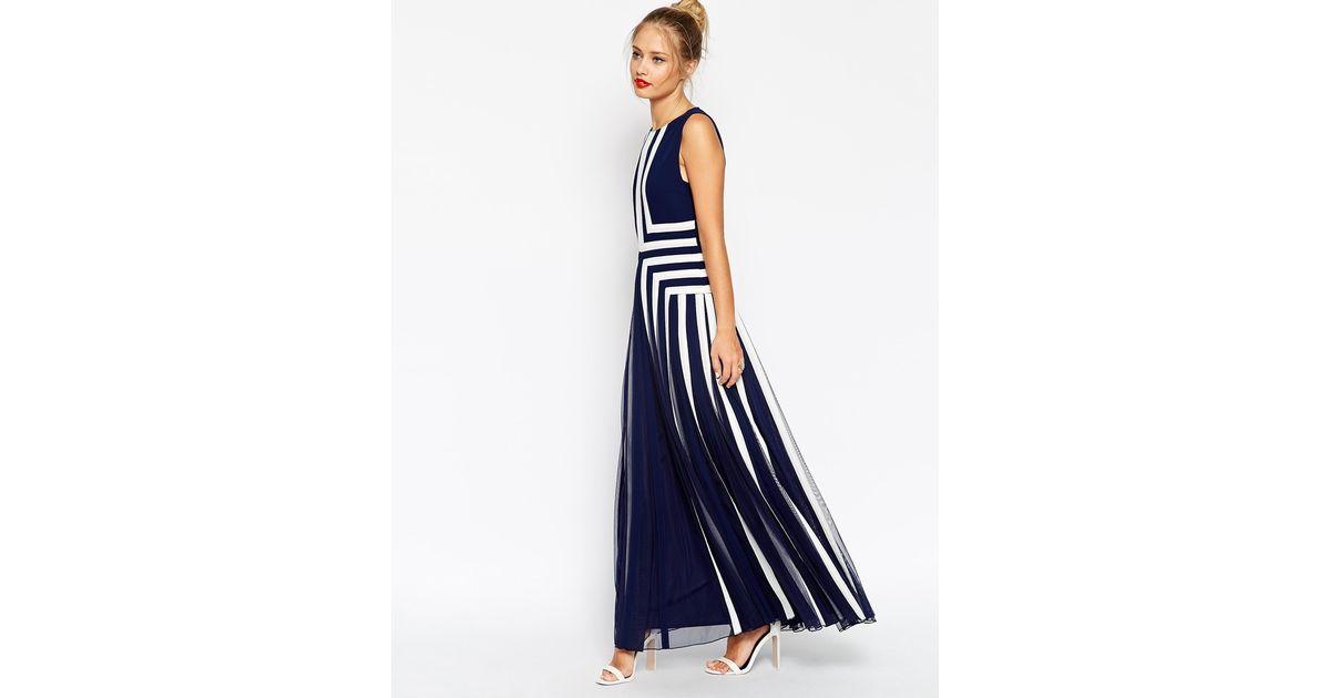 352bd8dcf0 ASOS Panelled Contour Mesh Maxi Dress in Blue - Lyst