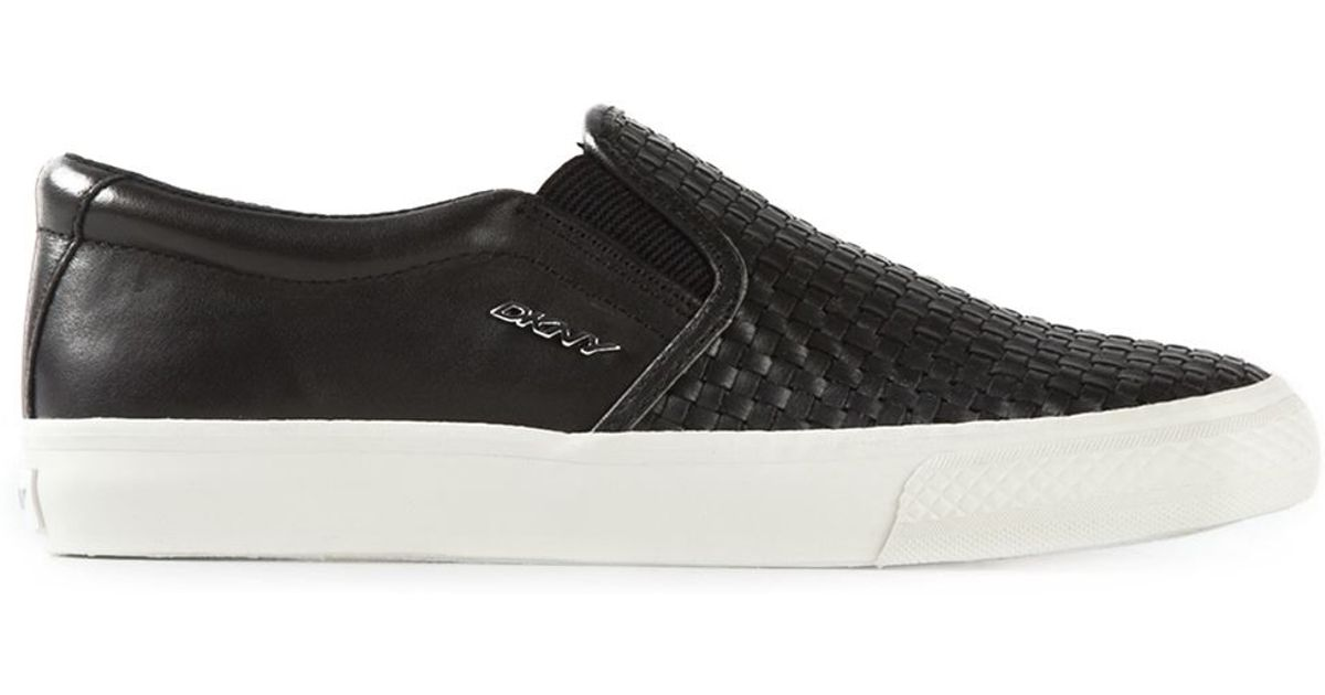 7ab8fea4dc23 DKNY Woven-Leather Slip-On Sneakers in Black - Lyst