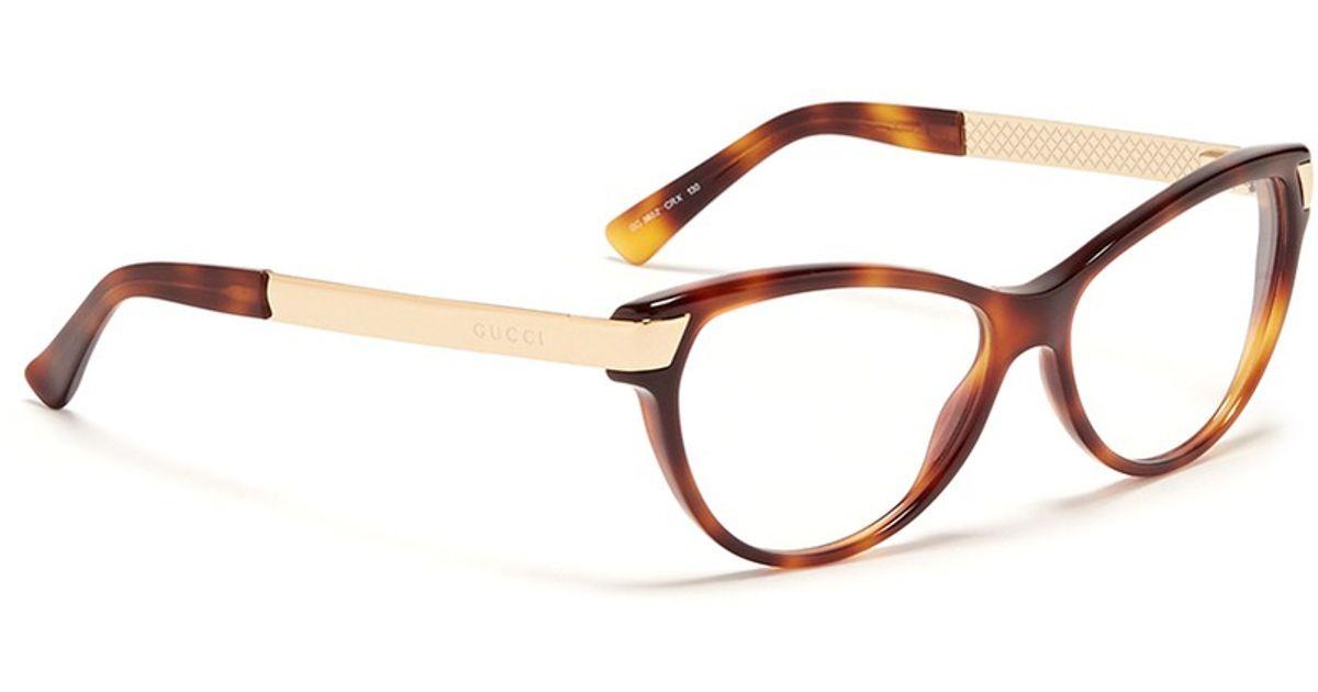 03f4f6f488 Gucci Metal Arm Tortoiseshell Frame Optical Glasses in Brown - Lyst