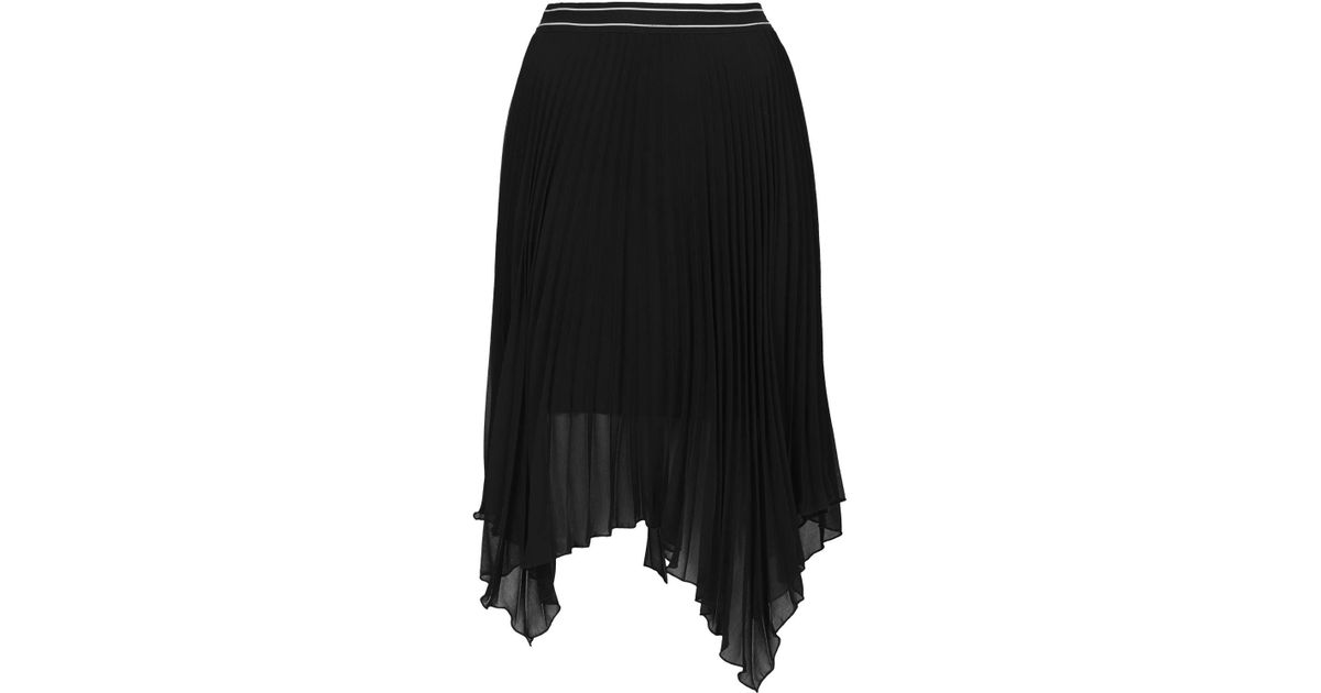 8803c80ec TOPSHOP Asymmetric Pleated Midi Skirt in Black - Lyst