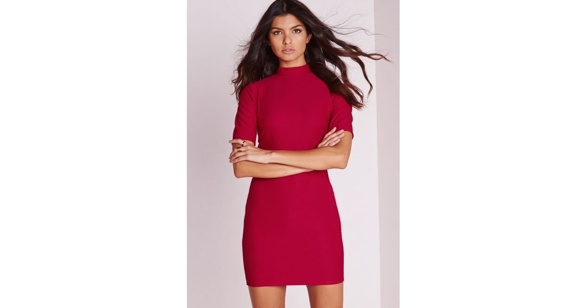 4d5eee6378 Lyst - Missguided High Neck Short Sleeve Bodycon Dress Red in Red
