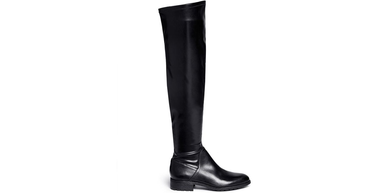 Sam edelman Remi Stretch-Leather Thigh-High Boots in Black | Lyst