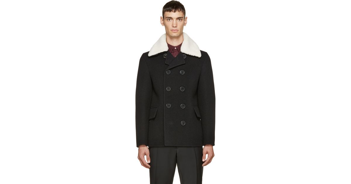 Burberry prorsum Black Wool And Shearling Jacket in Black for Men ...