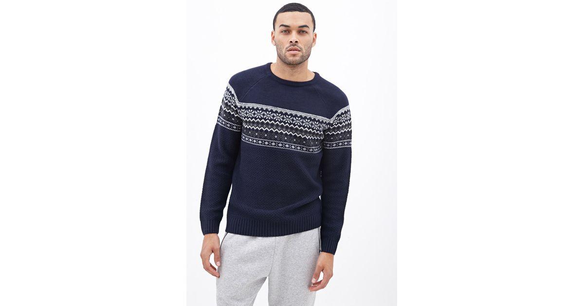 Forever 21 Fair Isle Raglan Sweater in Blue for Men | Lyst