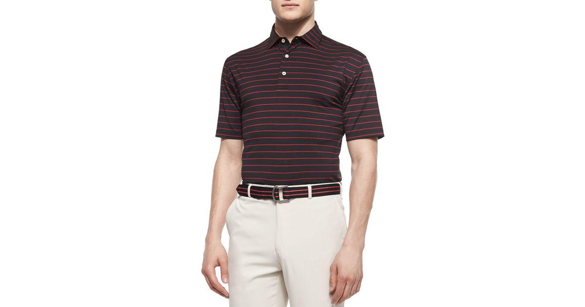 Peter millar striped stretch knit polo shirt in black for for Peter millar polo shirts
