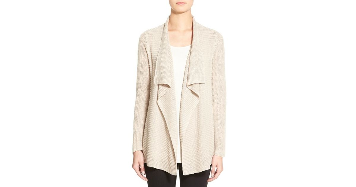 e79a4d8abe Lyst - Eileen Fisher Organic Linen Drape Front Cardigan in Natural