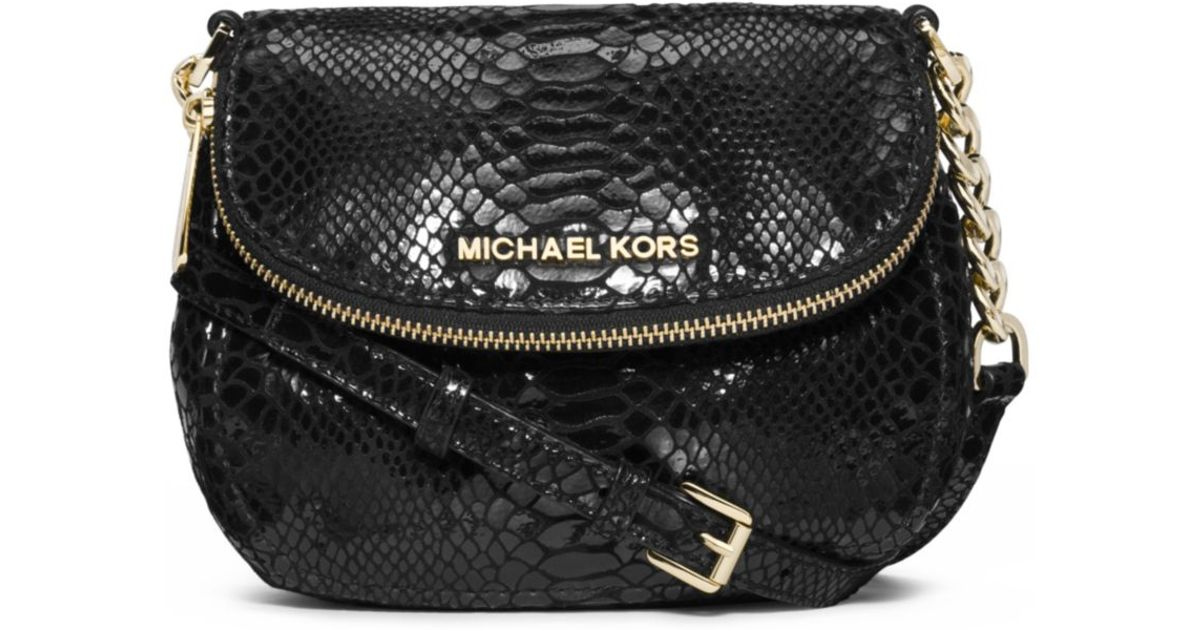 8a736f6203df Lyst - Michael Kors Bedford Embossed-leather Crossbody in Black
