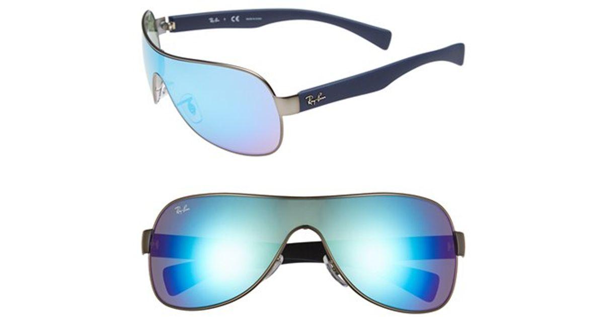 93bbfff047 Lyst - Ray-Ban 62mm Mirror Shield Sunglasses - Gunmetal  Blue Mirror in  Metallic