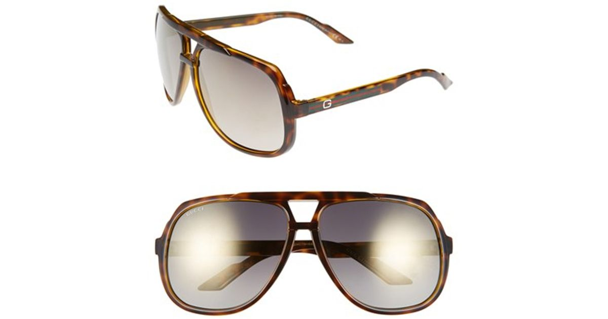 bab16e27cfd Lyst - Gucci Logo Temple 63mm Aviator Sunglasses - Havana  Gold Mirror in  Brown for Men
