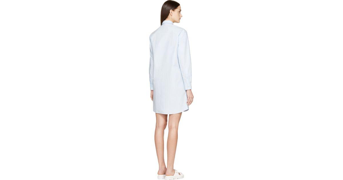 30b5019b221b Lyst - MSGM Light Blue Poplin Shirt Dress in Blue