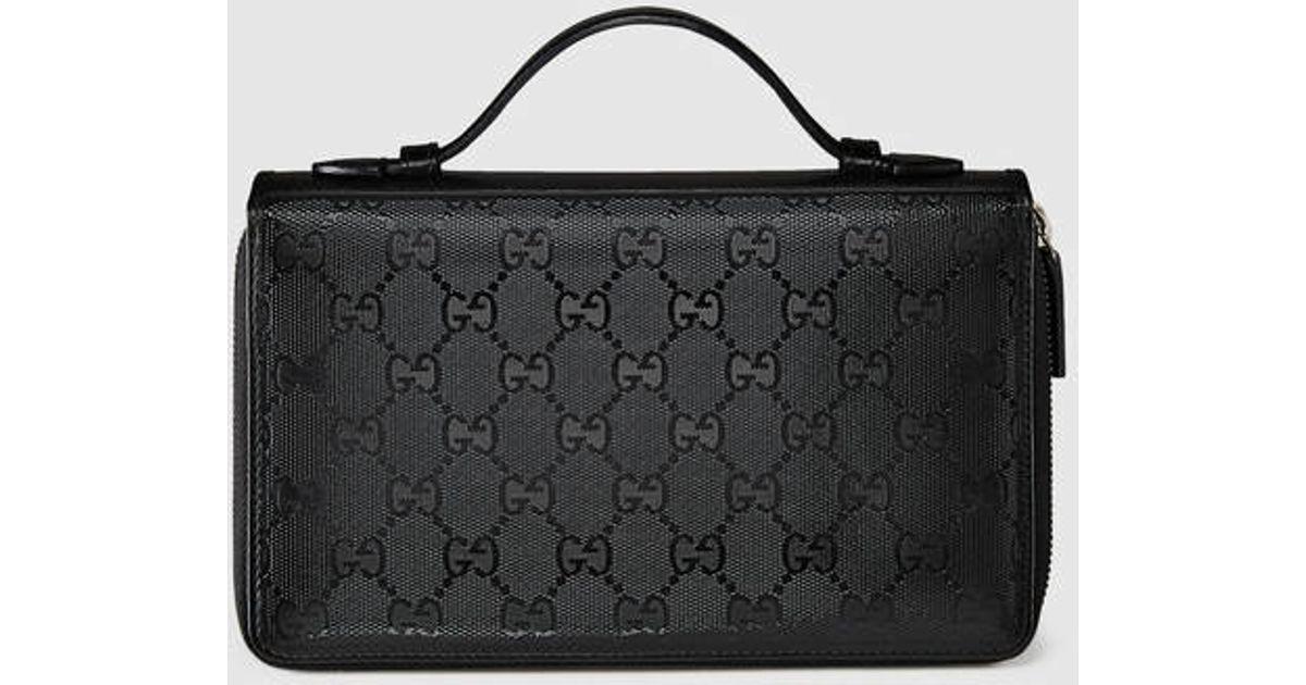 f9aa1cba78deda Lyst - Gucci Gg Imprimé Travel Document Case in Black for Men