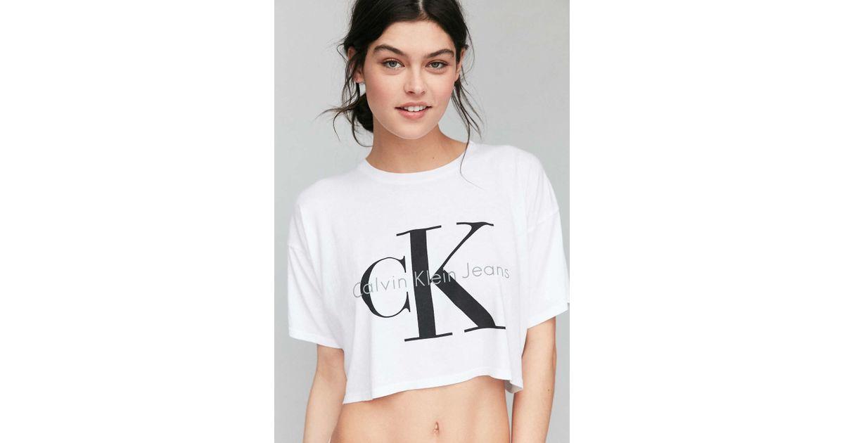 Lyst - Calvin Klein Cropped Tee Shirt in White d2e74b11f411