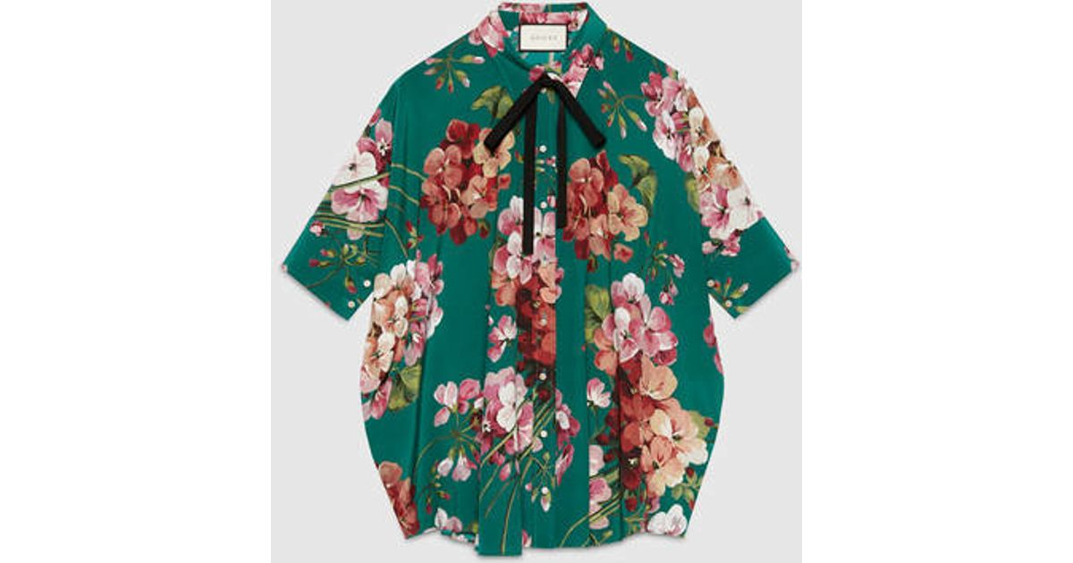a9de5704 Gucci Blooms Print Silk Cape Shirt - Lyst