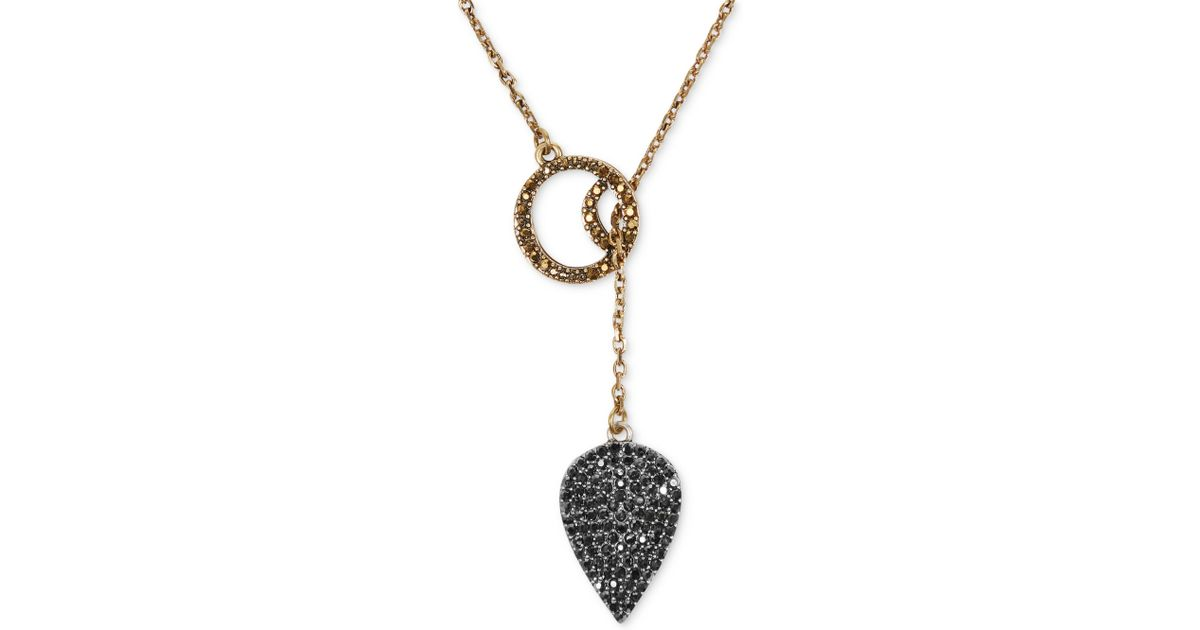 Lyst lucky brand goldtone pave crystal guitar pick pendant lyst lucky brand goldtone pave crystal guitar pick pendant necklace in metallic mozeypictures Choice Image