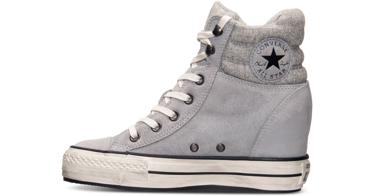 85700cab232 Lyst - Converse Women S Chuck Taylor All Star Platform Plus Hi Casual  Sneakers From Finish Line in Gray