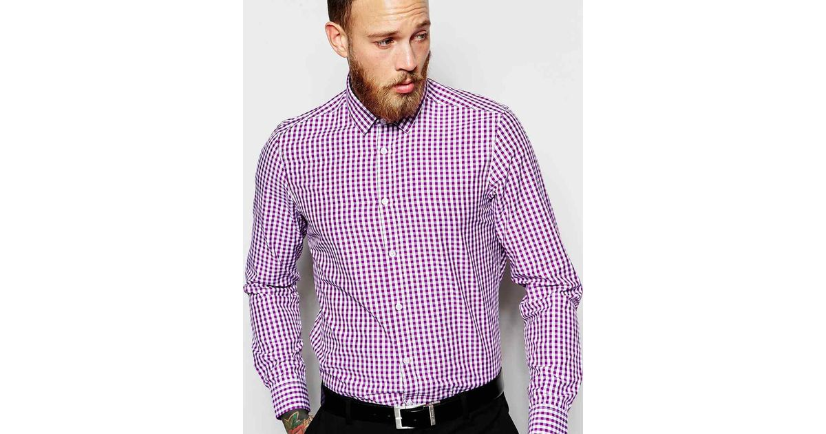 Asos smart shirt with long sleeve in gingham check in for Men s purple gingham shirt