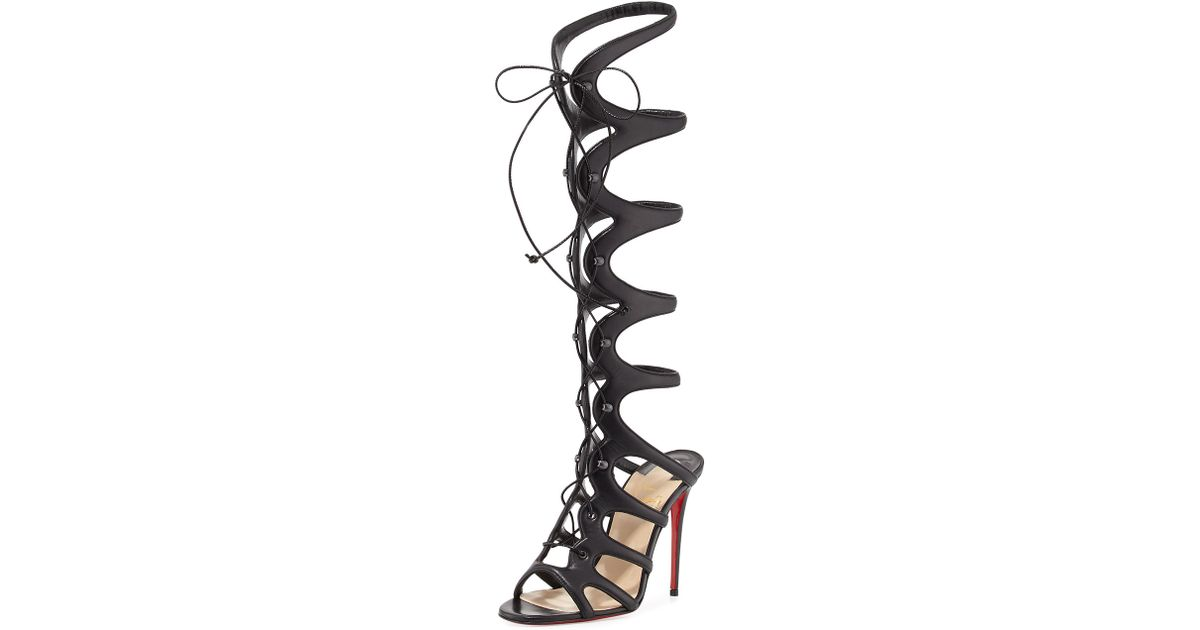 7a3a7210475 Lyst - Christian Louboutin Amazoula Lace-Up Leather Gladiator Sandals in  Black