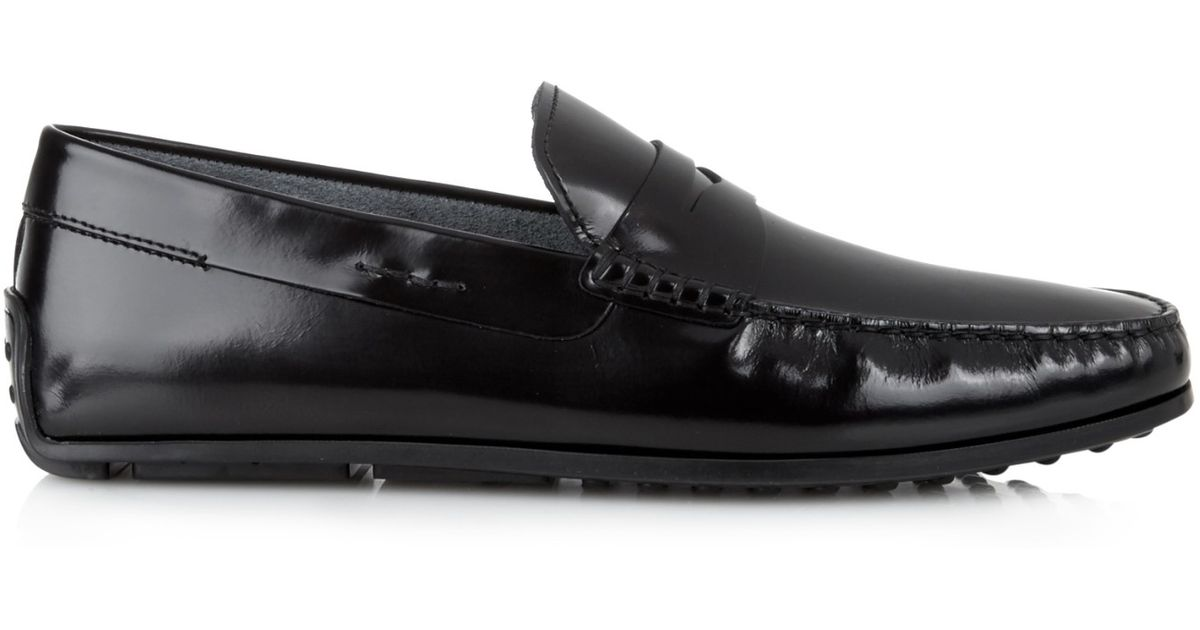tod s gommino leather driving shoes in black for lyst
