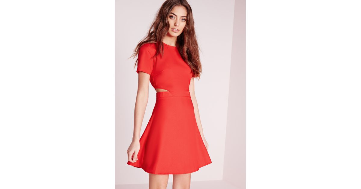 efad65bff6e9 Lyst - Missguided Short Sleeve Crepe Cut Out Waist Skater Dress Red in Red