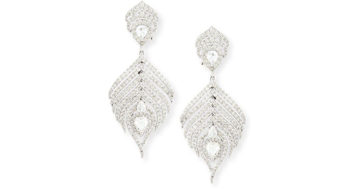 Sutra 18K White Gold & Diamond Feather Drop Earrings NCCWKSNjy2