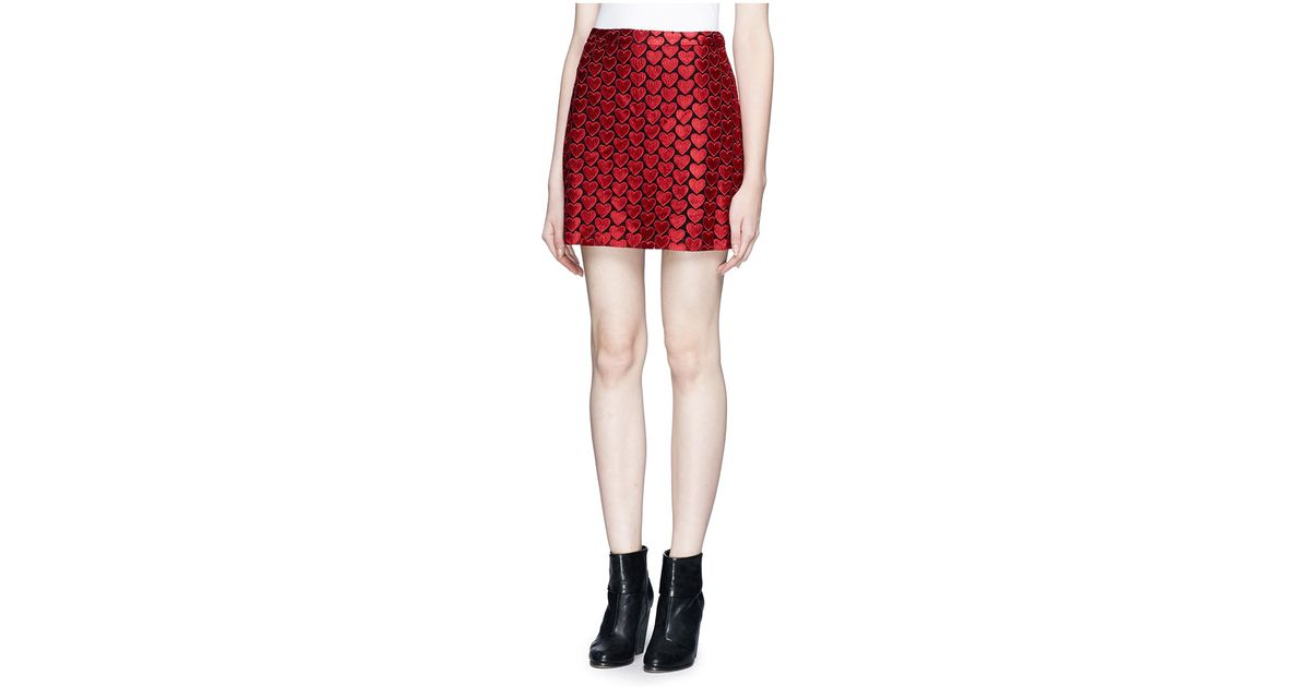 bacfefbcf2 Alice + Olivia 'riley' Heart Embroidery Skirt in Red - Lyst