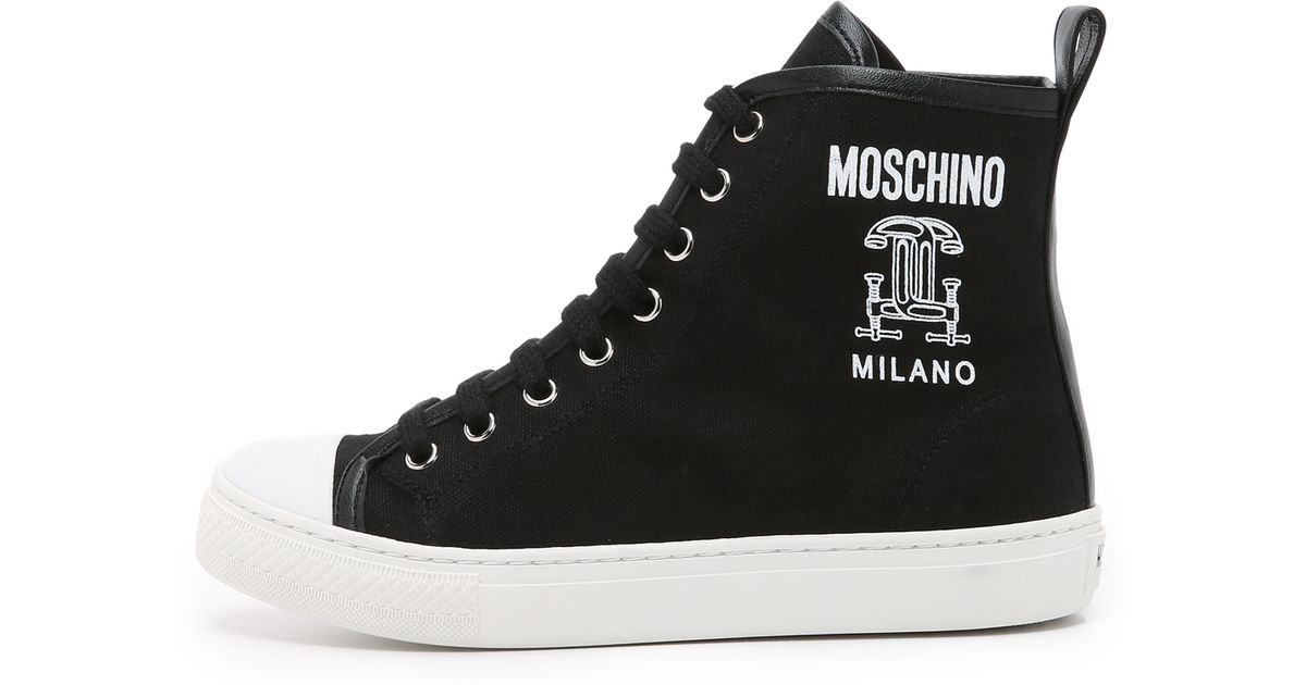Lyst - Moschino Canvas Sneakers in Black 5ddf6e89863