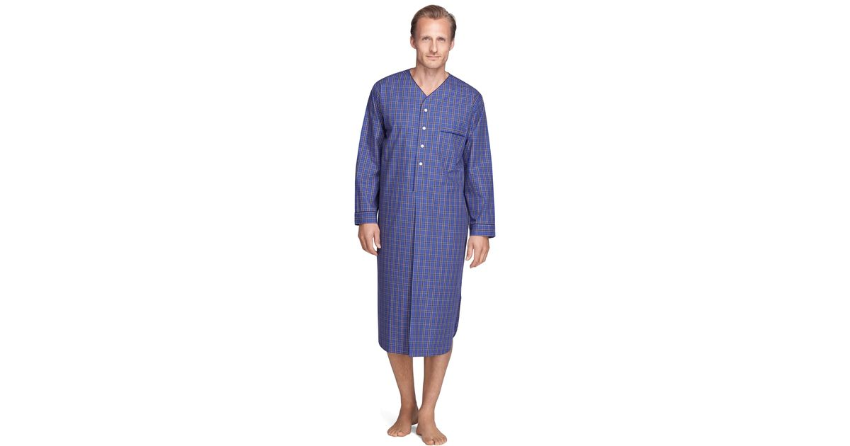 Lyst - Brooks Brothers Plaid Nightshirt in Blue for Men f0e22cb28