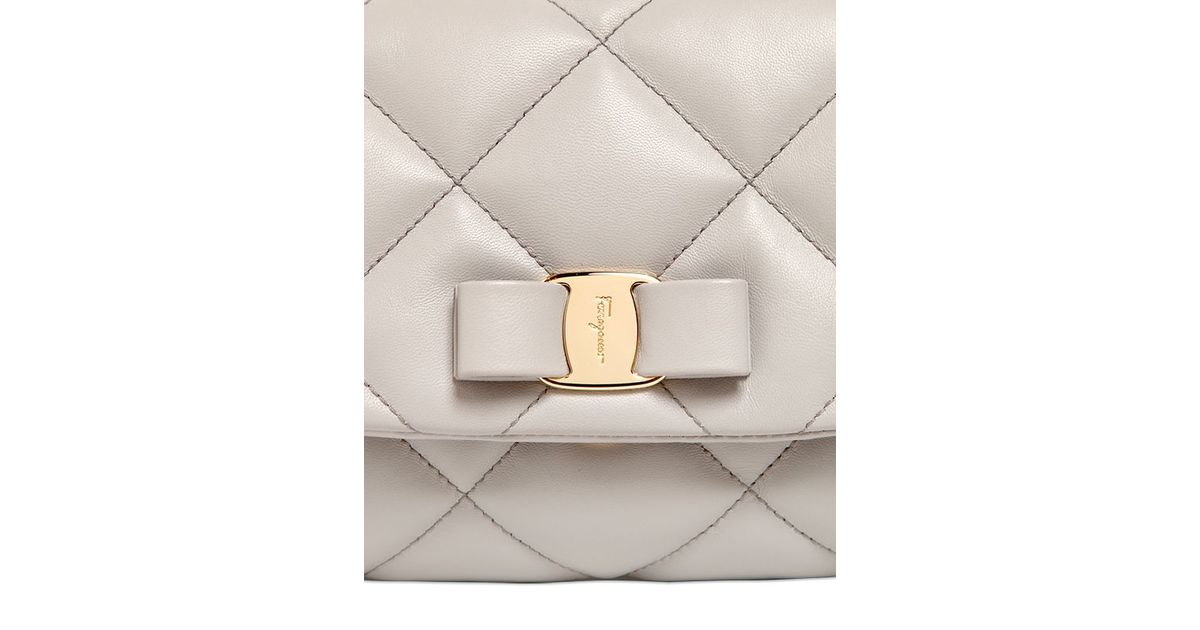 922a87e3505c Lyst - Ferragamo Gelly Quilted Nappa Leather Shoulder Bag in Gray
