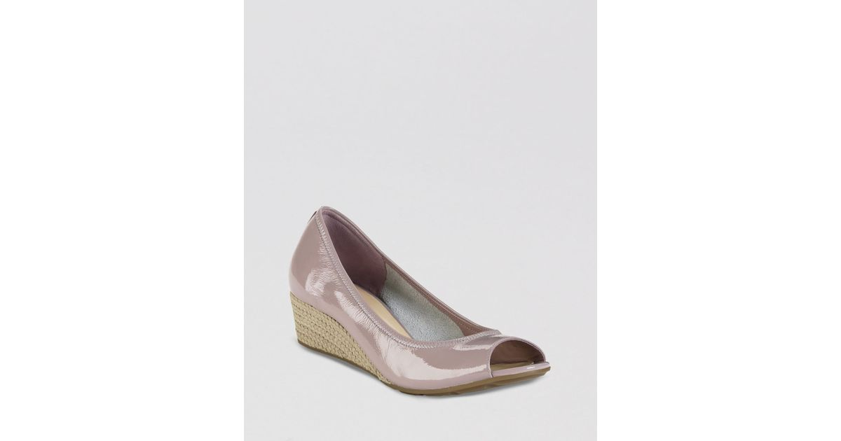 d51622f0672 Lyst - Cole Haan Open Toe Wedge Pumps Air Tali in Gray