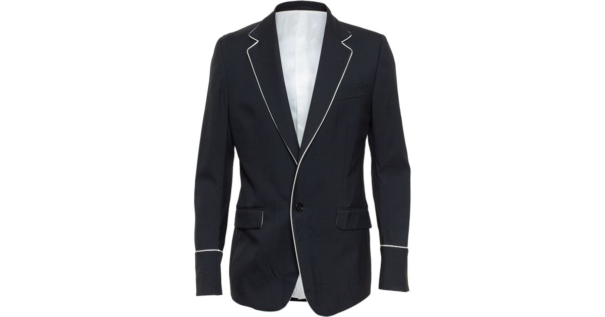 8b652ead0 Gucci Tailored Jacket With Piping in Black - Lyst
