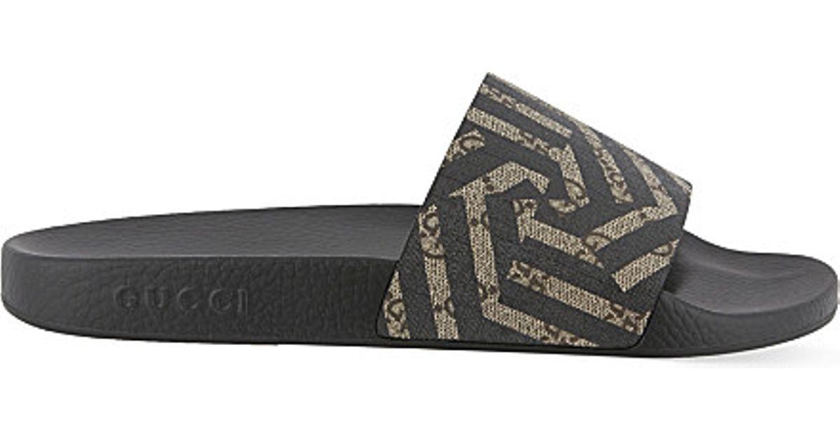 c3384ab1ff4f3f Lyst - Gucci Pursuit Geo Slider Flip-flops in Brown