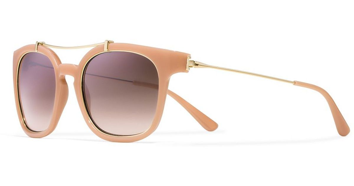 9e6ee54bf3e8 Lyst - Tory Burch Metal Brow-Bar Sunglasses in Pink