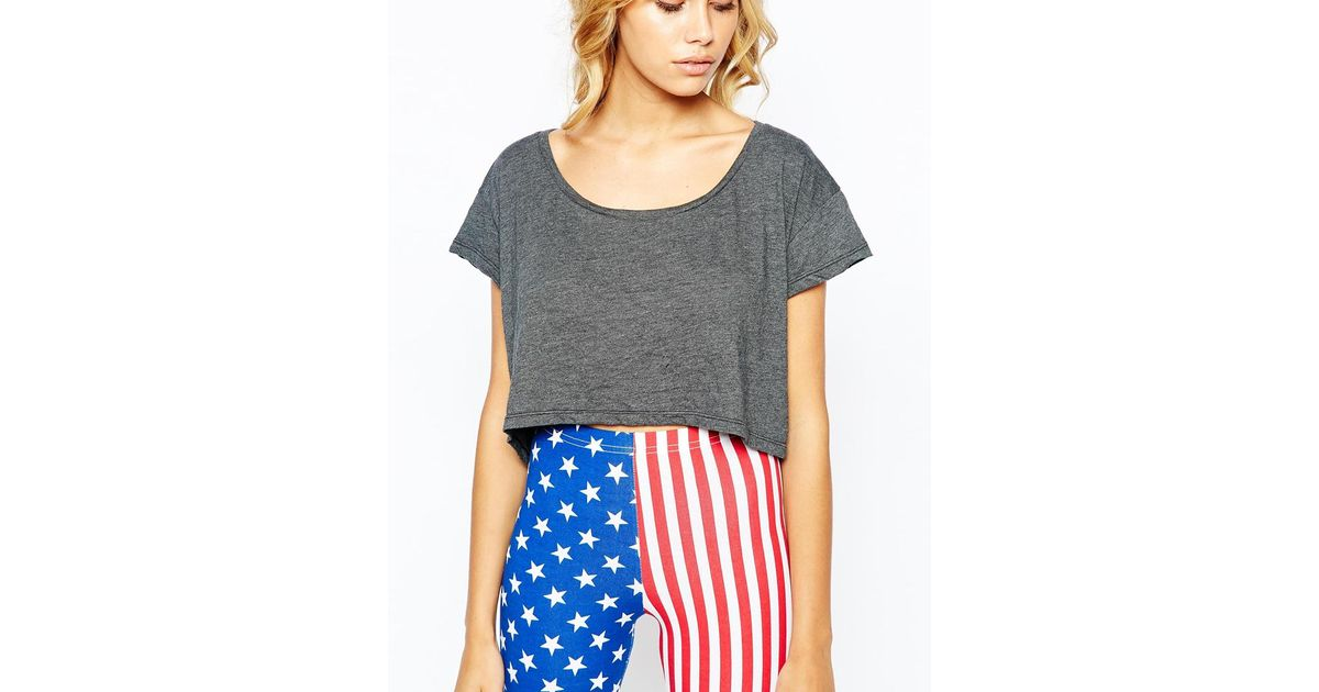 9a733da04a2 American Apparel Oversized Loose Crop T-shirt in Gray - Lyst