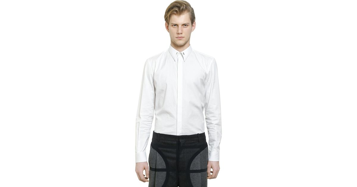 givenchy cuban fit 17 cotton poplin shirt in white for. Black Bedroom Furniture Sets. Home Design Ideas