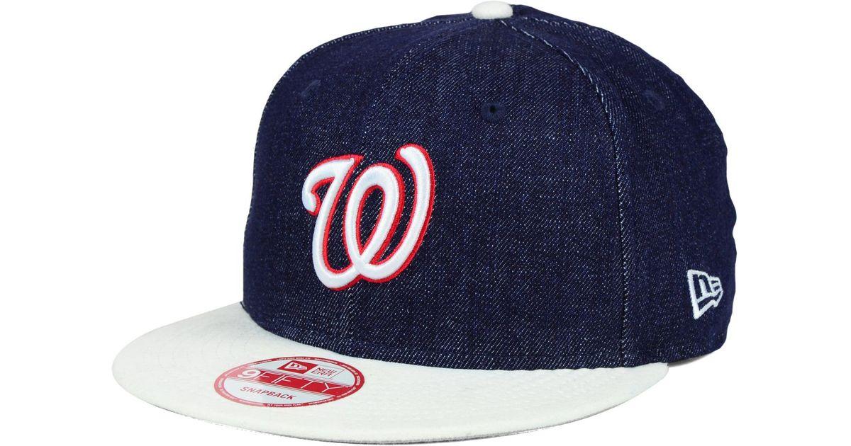73e830e5307b1 ... hot lyst ktz washington nationals denim suede 9fifty snapback cap in  blue for men 11633 f563f