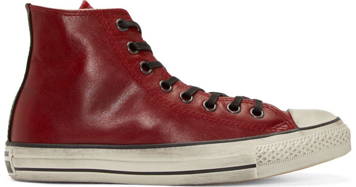ef0cbd0b729 Converse Red Leather Chuck Taylor High top Sneakers in Red for Men - Lyst