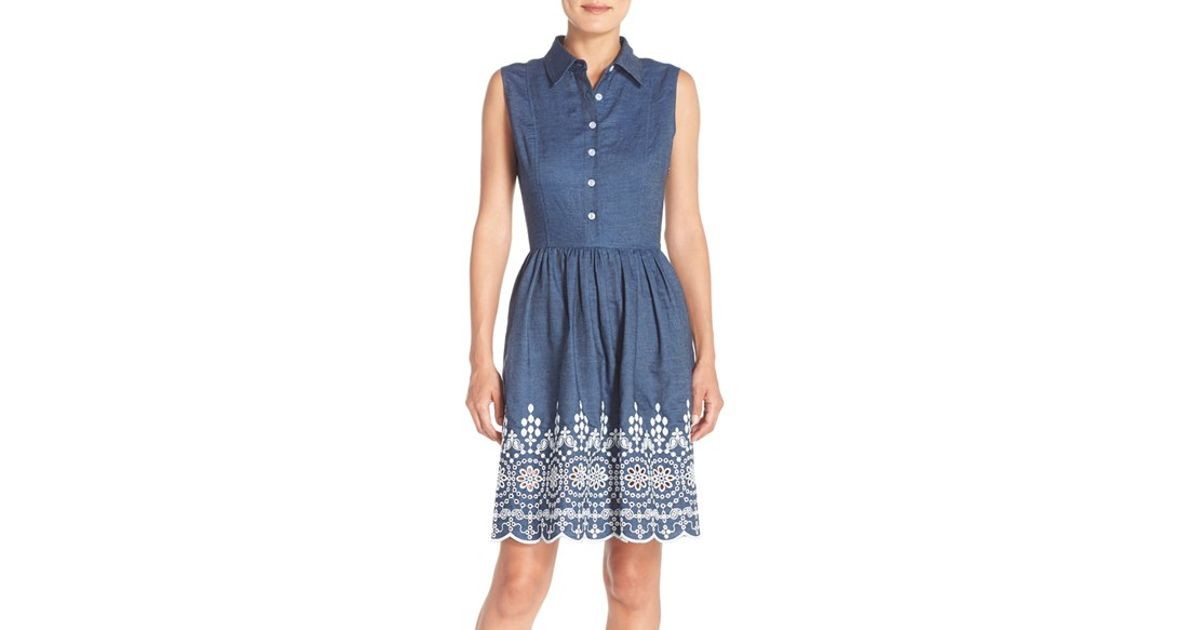 c4c8be690a468 Lyst - Maia Embroidered Denim Fit   Flare Dress in Blue